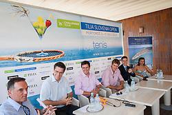 Gasper Bolhar, Gregor Krusic, Denis Topcic, Blaz Rola, Borut Fakin and Katja Kranjc during press conference of ATP Challenger Tilia Slovenia Open 2013, on June 20, 2013 in Hotel Metropol, Portoroz, Slovenia. (Photo By Vid Ponikvar / Sportida)