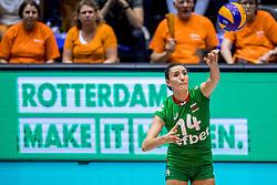 26-08-2017 NED: World Qualifications Bulgaria - Netherlands, Rotterdam<br /> De Nederlandse volleybalsters hebben in Rotterdam het kwalificatietoernooi voor het WK van volgend jaar in Japan ongeslagen afgesloten. Oranje was in z'n laatste wedstrijd met 3-0 te sterk voor Bulgarije: 25-21, 25-17, 25-23. / Emiliya Dimitrova #14 of Bulgaria