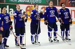 Slovenian team (Boris Pretnar, Miha Rebolj, Marjan Manfreda, Anze Tavzelj and Mitja Robar of Slovenia) at ice-hockey game Slovenia vs Slovakia at second game in  Relegation  Round (group G) of IIHF WC 2008 in Halifax, on May 10, 2008 in Metro Center, Halifax, Nova Scotia, Canada. Slovakia won after penalty shots 4:3.  (Photo by Vid Ponikvar / Sportal Images)