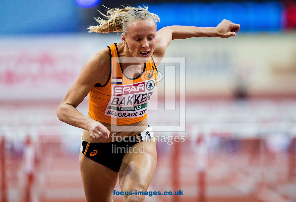 Sharona Bakker of Netherlands competes in the Women's 60 metres Hurdles heats on day one of the 34th European Indoor Athletics Championships Belgrade 2017 at the Kombank Arena, Belgrade<br /> Picture by EXPA Pictures/Focus Images Ltd 07814482222<br /> 03/03/2017<br /> *** UK &amp; IRELAND ONLY ***<br /> <br /> EXPA-SLO-170303-0029.jpg