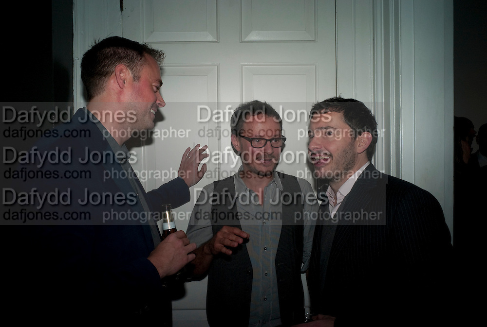 JAMIES THEAKSTON; JONATHAN YEO; GILES COREN; , ' You're Only Young Twice' Jonathan Yeo exhibition. Lazarides. 11 Rathbone Place. London. 9 December 2011.
