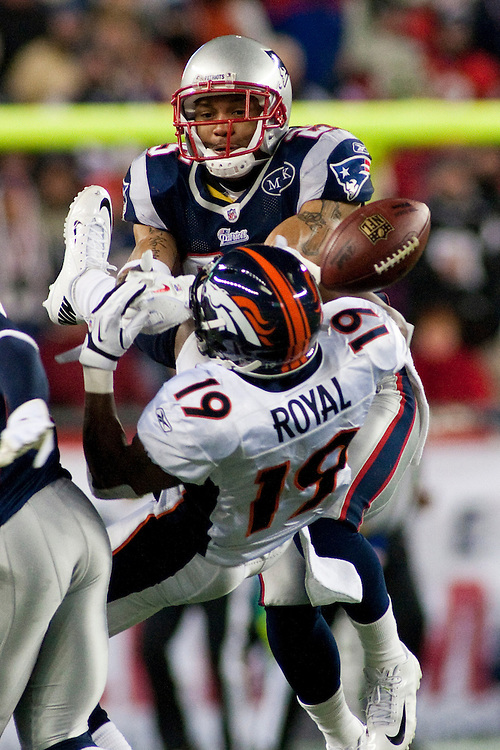 1/14/12 — FOXBORO, Mass. — Patriots safety Patrick Chung breaks up a pass intended for Broncos wide receiver Eddie Royal in the fourth quarter in the New England Patriots' 45-10 win over the Denver Broncos at Gillette Stadium in the AFC Divisional Playoffs on Jan. 14, 2012.
