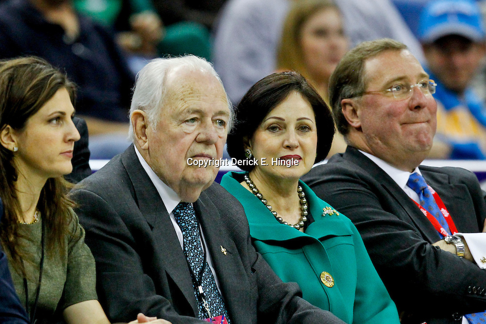 October 31, 2012; New Orleans, LA, USA; New Orleans Hornets owner Tom Benson and Gayle Benson watche during the second half of a game against the San Antonio Spurs at the New Orleans Arena. The Spurs defeated the Hornets 99-95. Mandatory Credit: Derick E. Hingle-US PRESSWIRE