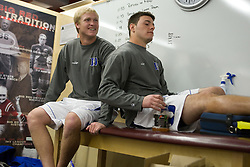 18 May 2008: Duke Blue Devils defenseman Parker McKee (35) and midfielder Michael Ward (9) before a 21-10 win over the Ohio State Buckeyes during the NCAA quarterfinals held at Cornell University in Ithaca, NY.
