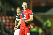 York City midfielder Russell Penn  during the Sky Bet League 2 match between York City and Exeter City at Bootham Crescent, York, England on 16 February 2016. Photo by Simon Davies.