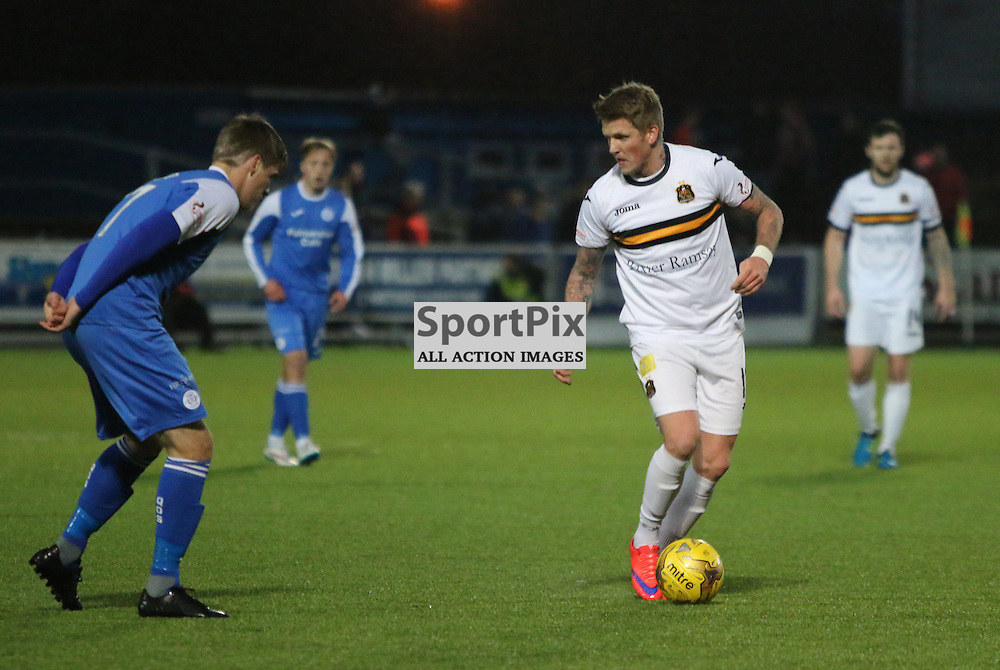 Sub willie Gibson tries to break the defence during the Queen of the South v Dumbarton FC Scottish Championship 7 November 2015 <br /> <br /> (c) Andy Scott | SportPix.org.uk