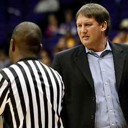 November 12, 2011; Baton Rouge, LA; Nicholls State Colonels head coach J. P. Piper talks to an official during a game against the LSU Tigers during the first half of a game at the Pete Maravich Assembly Center.  Mandatory Credit: Derick E. Hingle-US PRESSWIRE