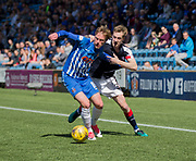 Dundee&rsquo;s Kevin Holt gets to grips with Kilmarnock&rsquo;s Sean Longstaff - Kilmarnock v Dundee in the Ladbrokes Scottish Premiership at Rugby Park, Kilmarnock, Photo: David Young<br /> <br />  - &copy; David Young - www.davidyoungphoto.co.uk - email: davidyoungphoto@gmail.com
