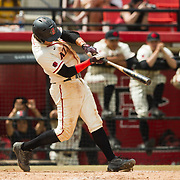 15 April 2018: San Diego State Casey Schmitt (8) hits an rub single in the bottom of the third to give the Aztecs an 8-2 lead. The San Diego State baseball team closed out the weekend series against Cal State Fullerton with a 9-6 win at Tony Gwynn Stadium. <br /> More game action at sdsuaztecphotos.com