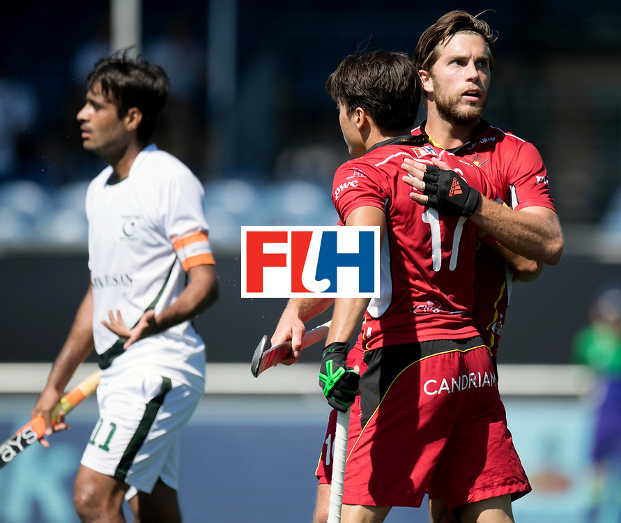 BREDA - Rabobank Hockey Champions Trophy<br /> Belgium - Pakistan<br /> Photo: Cedric Charlier celebrates with Thomas Briels.<br /> COPYRIGHT WORLDSPORTPICS FRANK UIJLENBROEK