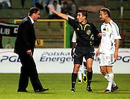 n/z.: (L) Trener Czeslaw Michniewicz (Lubin) & (C) sedzia Pawel Gil & (R) Maciej Stolarczyk (Belchatow) podczas meczu ligowego GKS Belchatow - Zaglebie Lubin , I liga 03 kolejka sezon 2007/2008, Orange Ekstraklasa , pilka nozna , Polska , Belchatow , 11-08-2007 , fot.: Adam Nurkiewicz / mediasport..(L) Trainer coach Czeslaw Michniewicz (Lubin) & (C) referee Pawel Gil & (R) Maciej Stolarczyk (Belchatow) during soccer first division league match between GKS Belchatow - Zaglebie Lubin in Belchatow, Poland. August 11, 2007 ; 03 round season 2007/2008 , football , Poland , Belchatow ( Photo by Adam Nurkiewicz / mediasport )
