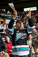 KELOWNA, CANADA - MARCH 24: Kelowna Rockets' fan celebrates a goal against the Kamloops Blazers  on March 24, 2017 at Prospera Place in Kelowna, British Columbia, Canada.  (Photo by Marissa Baecker/Shoot the Breeze)  *** Local Caption ***
