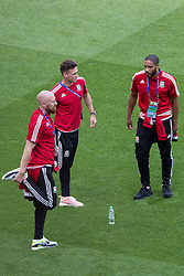 LYON, FRANCE - Tuesday, July 5, 2016: Wales' James Collins, James Chester and captain Ashley Williams during a training session ahead of their UEFA Euro 2016 Championship Semi-Final match against Portugal at the Stade de Lyon. (Pic by Paul Greenwood/Propaganda)