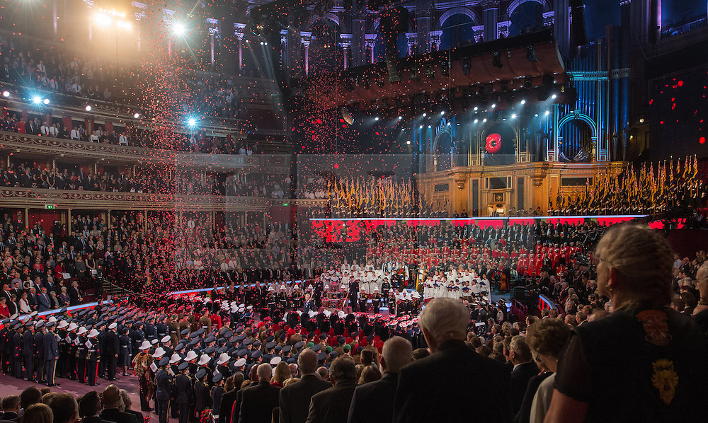 © London News Pictures. Pictured: Poppys fall from the roof of The Royal Albert Hall, London during the Festival of Remembrance on Saturday 7th November 2015... Photo credit: Max Bryan/LNP