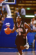 Tim Hardaway in action during the mens basketball match between the USA and New Zealand, 23 September 2000, Sydney Olympics.  PHOTO: PHOTOSPORT
