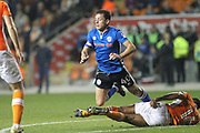 Ian Henderson is fouled on the edge of the box during the EFL Sky Bet League 1 match between Blackpool and Rochdale at Bloomfield Road, Blackpool, England on 26 September 2017. Photo by Daniel Youngs.