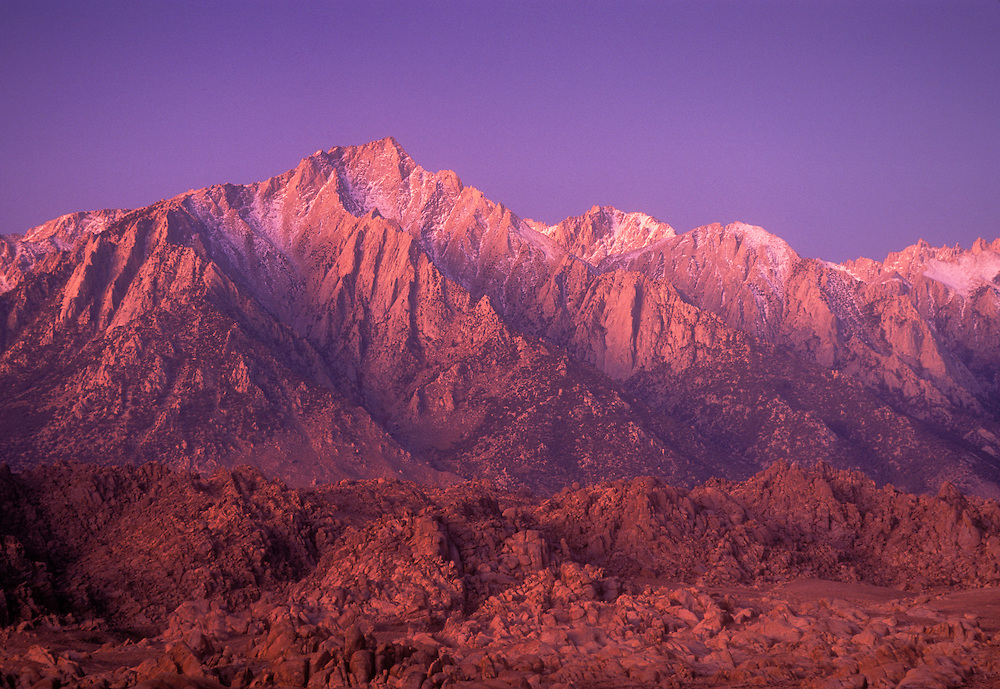 Lone Pine Peak at dawn, with Alabama Hills in the foreground; Sierra Nevada Mountains, California.