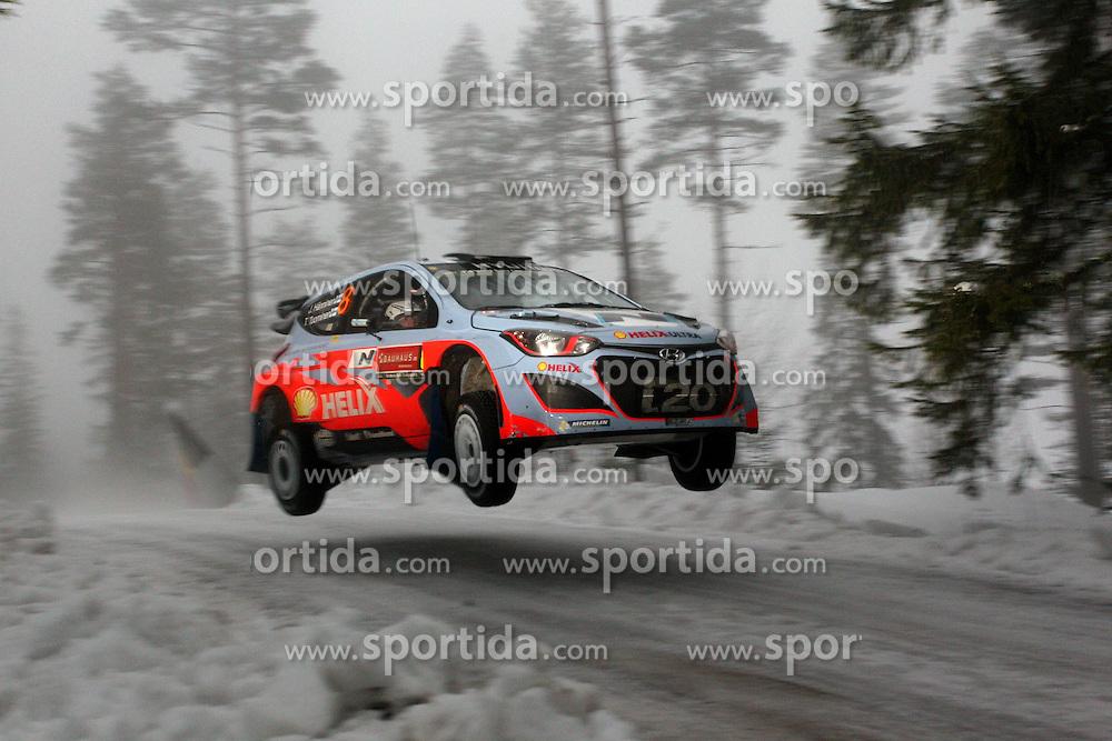 07.02.2014, Hagfors, Karlstad, SWE, FIA, WRC, Schweden Rallye, Tag 3, im Bild Juho Haenninen/Tomi Tuominen (Hyundai Motorsport/i20 WRC), Action / Aktion, Jump, sprung // during Day 3 of the FIA WRC Sweden Rally at the Hagfors in Karlstad, Sweden on 2014/02/07. EXPA Pictures &copy; 2014, PhotoCredit: EXPA/ Eibner-Pressefoto/ Bermel<br /> <br /> *****ATTENTION - OUT of GER*****
