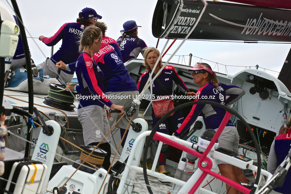 Team SCA. Start of Leg 5, Auckland to Itajai Leg 5 in the 2015 Volvo Ocean Race, Auckland, New Zealand. 18 March 2015. Copyright photo: Richard Gladwell / www.photosport.co.nz