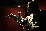 """December 11, Cairo 2011. Egypt. Mc Rush from """"Arabian Knightz"""": the biggest Middle-east HipHop Crew, based in Cairo, Egypt. Rush during a recording session at Arab League Records, Cairo."""
