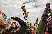 Costumed revelers celebrate after climbing a greased pole to grab a chicken on the top during the Faquetigue Courir de Mardi Gras chicken run on Fat Tuesday February 17, 2015 in Eunice, Louisiana. The traditional Cajun Mardi Gras involves costumed revelers competing to catch a live chicken as they move from house to house throughout the rural community.