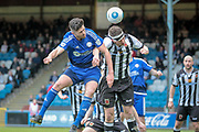Scott Garner (Halifax) heads the ball and scores FC Halifax Town's second goal of the game and puts the home team 2-1 up in the first period of extra time during the Vanarama National League North Play Off final match between FC Halifax Town and Chorley at the Shay, Halifax, United Kingdom on 13 May 2017. Photo by Mark P Doherty.