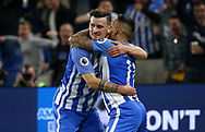 Pascal Gross of Brighton (L) celebrates scoring the opening goal with Anthony Knockaert during the Premier League match between Brighton and Hove Albion and Manchester United at the American Express Community Stadium in Brighton and Hove. 04 May 2018