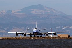 Boeing 747-409(F) (B-18718) operated by China Airlines for China Airlines Cargo holding short, San Francisco International Airport (KSFO), San Francisco, California, United States of America