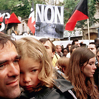 2002 Paris  after  first  round of presidential election on  21  april, people protest massively in Paris  against qualification of far right leader Jean Marie Lepen   . Pierre Boutier