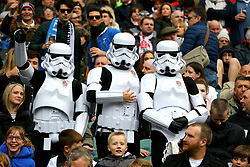 Fans dressed in Stormtrooper costumes in the stands during the Guinness Six Nations match at Twickenham Stadium, London.