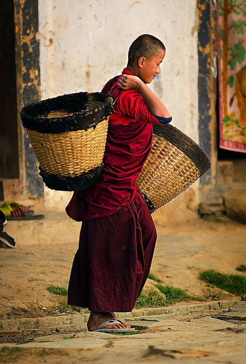 Novice monk in central Bhutan.