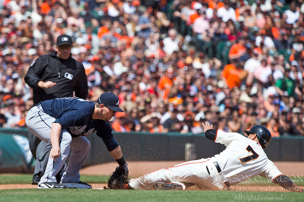 SAN FRANCISCO, CA - MAY 11: Gregor Blanco #7 of the San Francisco Giants is tagged out attempting to steal third base by Chris Johnson #23 of the Atlanta Braves during the fifth inning at AT&T Park on May 11, 2013 in San Francisco, California. (Photo by Jason O. Watson/Getty Images) *** Local Caption *** Gregor Blanco; Chris Johnson