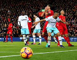Dejan Lovren of Liverpool reacts after missing a chance - Mandatory by-line: Matt McNulty/JMP - 11/12/2016 - FOOTBALL - Anfield - Liverpool, England - Liverpool v West Ham United - Premier League