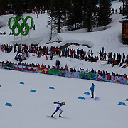 Winter Olympics, Vancouver, 2010.Pietro Piller Cottrer, Italy, winning Silver in the Men's 15km Cross Country Skiing event at The Whistler Olympic Park, Whistler, during the Vancouver Winter Olympics. 14th February 2010. Photo Tim Clayton
