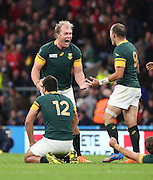 South Africa's Schalk Burger celebrating a toughly fought match during the Rugby World Cup Quarter Final match between South Africa and Wales at Twickenham, Richmond, United Kingdom on 17 October 2015. Photo by Matthew Redman.