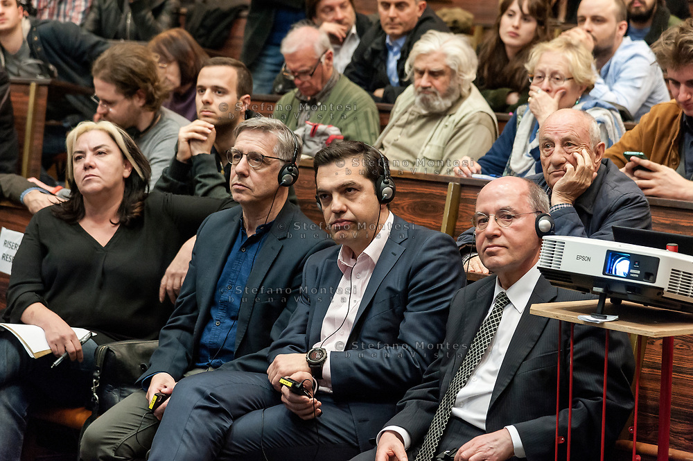 "ROME, ITALY - MARCH 23: Greek Prime Minister Alexis Tsipras (C) whith Gregor Gisy (R) President of the Party of the European Left participated in the meeting ""Transform Europe"",  which was held to University La Sapienza. In the courtroom to hear the greek prime minister many militants of the radical left, from different parties, and associations on March 23, 2017 in Rome;Italy."