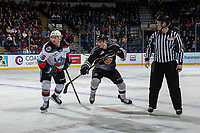 KELOWNA, BC - JANUARY 4: Evan Patrician #39 of the Vancouver Giants stick checks Michael Farren #16 of the Kelowna Rockets during second period  at Prospera Place on January 4, 2020 in Kelowna, Canada. (Photo by Marissa Baecker/Shoot the Breeze)