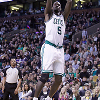 04 March 2012: Boston Celtics power forward Kevin Garnett (5) takes a jumpshot during the Boston Celtics 115-111 (OT) victory over the New York Knicks at the TD Garden, Boston, Massachusetts, USA.