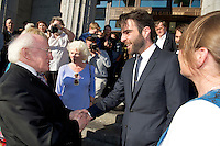 President Michael D Higgins  with Zachary Quinto at the closing of  25th Galway Film Fleadh. Photo:Andrew Downes