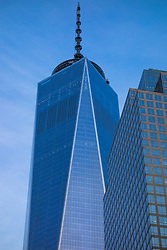 One World Trade Center, West Elevation as seen from North End Ave looking east along Vesey St at Dusk. Upper Floors. 20 May 2015