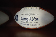 1995 division playoff Game Ball of former Dallas Cowboys guard Larry Allen, Jr. photographed at his home in Danville, California, on June 27, 2013.  Allen will be inducted into the NFL Hall of Fame during the Enshrinement Ceremony at Fawcett Stadium in Canton, Ohio, on August 2, 2013. (Stan Olszewski for Fort Worth Star-Telegram)