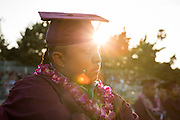 Cal Hills High School senior Brandon Legaspi waits to walk across the stage to receive his diploma during the Class of 2013 graduation at the Milpitas Sports Center in Milpitas, California, on June 6, 2013. (Stan Olszewski/SOSKIphoto)