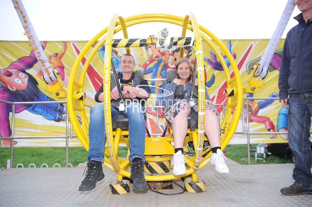 a couple sat inside the bungee ready for lift off during the final of the Vitality T20 Finals Day 2018 match between Worcestershire Rapids and Sussex Sharks at Edgbaston, Birmingham, United Kingdom on 15 September 2018.