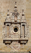 Detail of the baroque facade, 16th century, of the church of Monestir de Poblet, 1151, Vimbodi, Catalonia, Spain, pictured on May 20, 2006, in the afternoon. The Monastery of Poblet belongs to the Cistercian Order and was founded by French monks. Originally, Cistercian architecture, like the rules of the order, was frugal. But continuous additions  including late Gothic and Baroque, eventually made Poblet one of the largest monasteries in Spain which was later used as a fortress and royal palace. It was closed in 1835 by the Spanish State but refounded in 1940 by Italian Cistercians. It is a UNESCO World Heritage Site. Picture by Manuel Cohen.
