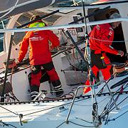 Banque image hélicoptère du 60 pied LA FABRIQUE avec ALAN ROURA  ET SEBASTIEN AUDIGANE - Transat Jacques Vabre 2019
