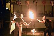 Nederland, Nijmegen, 30-8-2014Gebroeders van Limburg festival in het valkhof, valkhofpark. In de late Middeleeuwen was Nijmegen met de Valkhofburcht de belangrijkste stad in hertogdom Gelre. De drie rond 1380 in Nijmegen geboren gebroeders van Limburg waren beroemde tekenaars en kopiisten die vooral aan het franse hof furore maakten. Met het Gebroeders van Limburgfestival eert de stad hen. Het festival is geinspireerd op de miniaturen die zij maakten, waarbij figuranten het dagelijks leven naspelen.In de avond was er een show, spektakel, met vuur, fakkels en paarden. Het verhaal van st Antonius werd nagespeeld.Foto: Flip Franssen/Hollandse Hoogte
