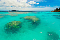 Coral reefs surrounding Brush Island, New Caledonia Barrier Reef off Ile des Pins (Isle of Pines), New Caledonia