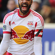 Thierry Henry, New York Red Bulls, reacts in frustration after the referee penalized him for a foul on Jermaine Jones during his side 2-1 loss during the New York Red Bulls Vs New England Revolution, MLS Eastern Conference Final, first leg at Red Bull Arena, Harrison, New Jersey. USA. 23rd November 2014. Photo Tim Clayton