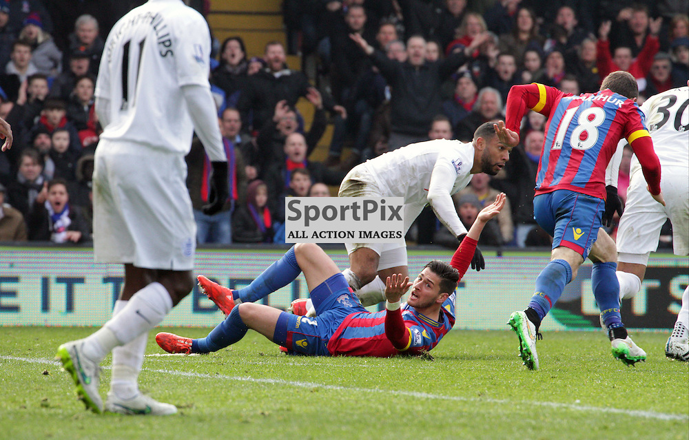 Crystal Palace defender Joel Ward appeals for a foul during the game between Crystal Palace and Queens Park Rangers on Saturday 14th March 2015