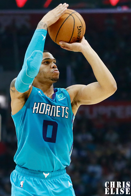 LOS ANGELES, CA - OCT 28: Miles Bridges (0) of the Charlotte Hornets brings the ball up court during a game on October 28, 2019 at the Staples Center, in Los Angeles, California.